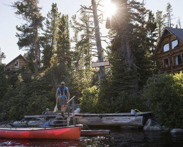 A canoeist at Nuk Tessli Wilderness Experience