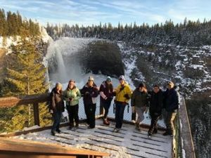 The media group taking in the incredible views at Helmcken Falls with Tourism Wells Gray